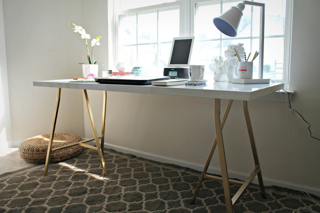 Ikea Hack White Table With Gold Legs 2