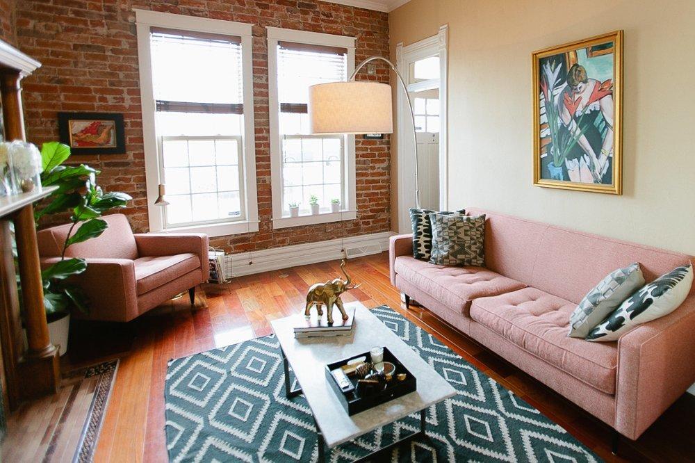 Hannah & Brandon's Living Room - Modern Pink Sofa