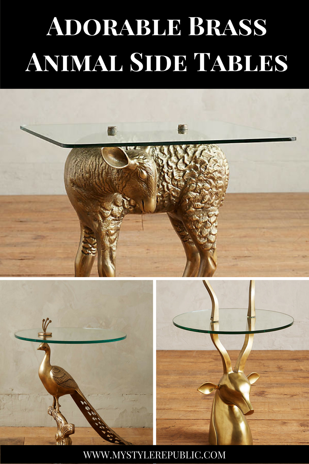 Adorable Brass Animal Side Tables